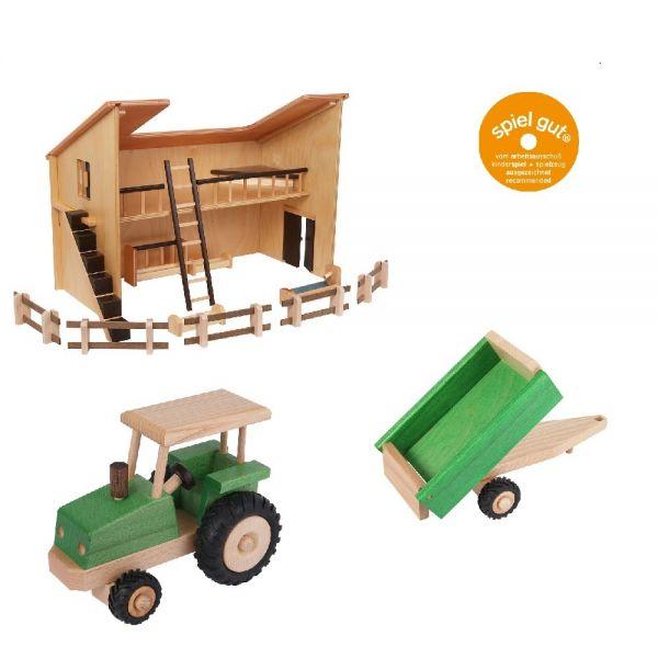 Set Stall mit Traktor und Anhänger, Beck Holzspielzeug.