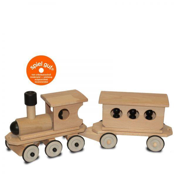 Dynamiko Holzschiebezug Set Lokomotive schwarz mit Personenwaggon