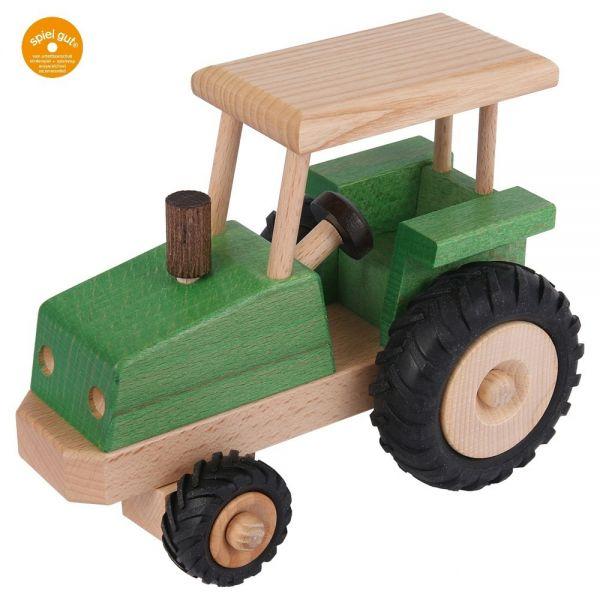 """Lenkbarer Traktor, """"spiel gut"""", Esche naturlackiert, Beck Holzspielzeug."""