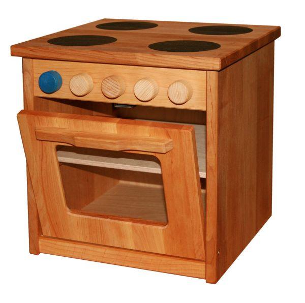 Ofen Kinderküche, Erlenholz massiv von Schöllner Holzspielzeug.