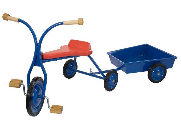 Set Dreirad 32 cm Sitzhöhe, rot gebeizt, mit Anhänger Dorfgemeinschaft Lautenbach.