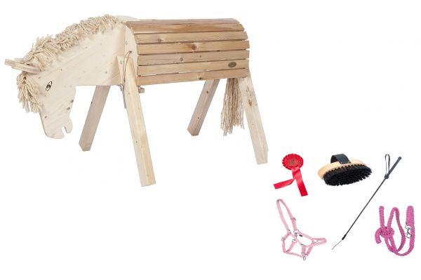 Holzpferd Susi mit Zubehör 5teilig, pink von Helga Kreft.