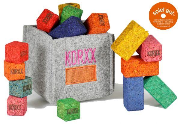 KORXX 17 bunte Korkbauklötze für Unterwegs Brickle C