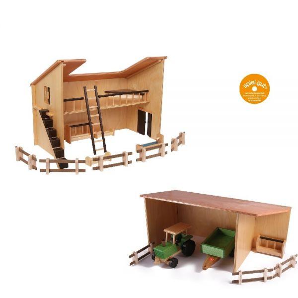 Set Stall, Geräteschuppen, Birkensperrholz von Beck Holzspielzeug.