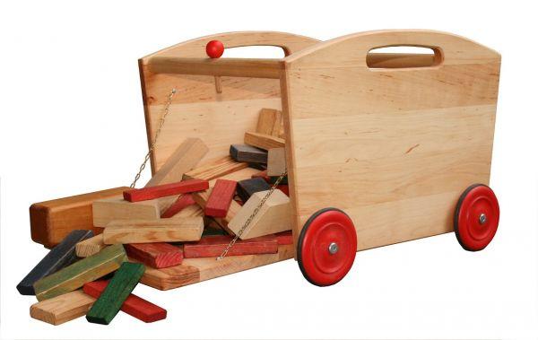 Schöllner Holzspielzeugwagen Lore, mit Klappe.