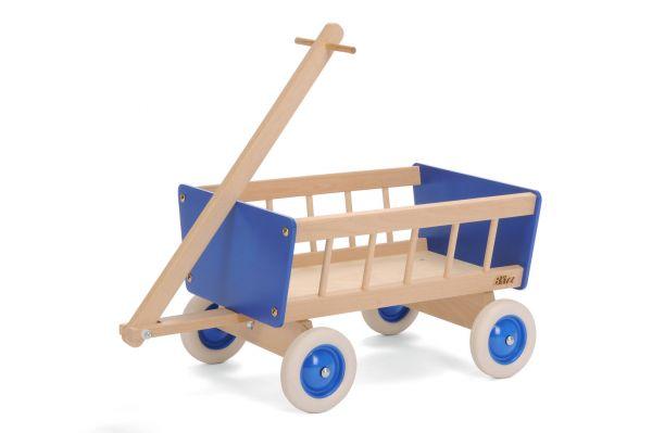 Bollerwagen Holz, blau, Bätz Holzspielwaren.
