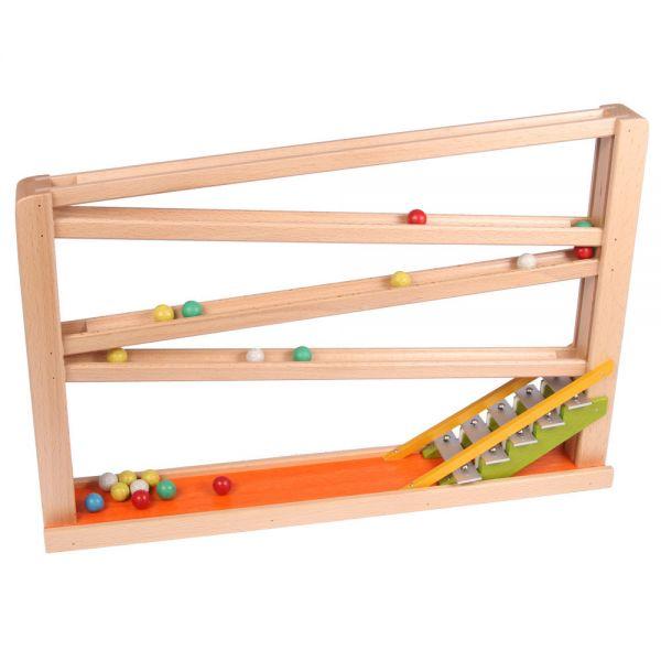 """Bunte Holz Kugelbahn mit Glockenspiel, """"spiel gut"""", Beck Holzspielzeug"""