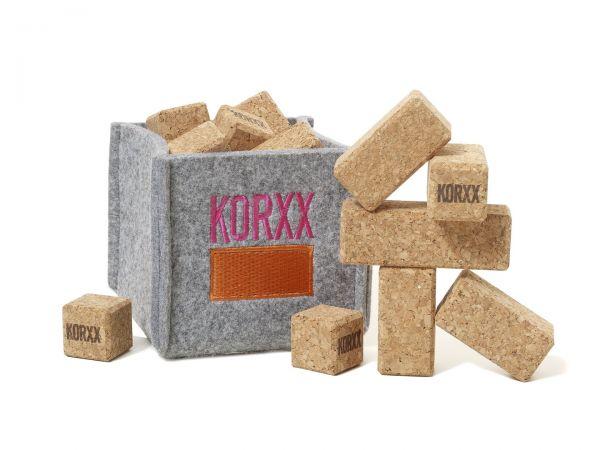 KORXX 17 Mini Korkbauklötze für Unterwegs Brickle natur