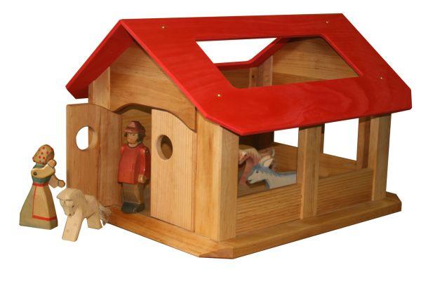 Spielzeug Stall aus Holz, Erle geölt von Schöllner