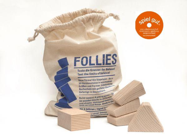 Lessing Follies im Sack, 30 Holz-Bauklötze