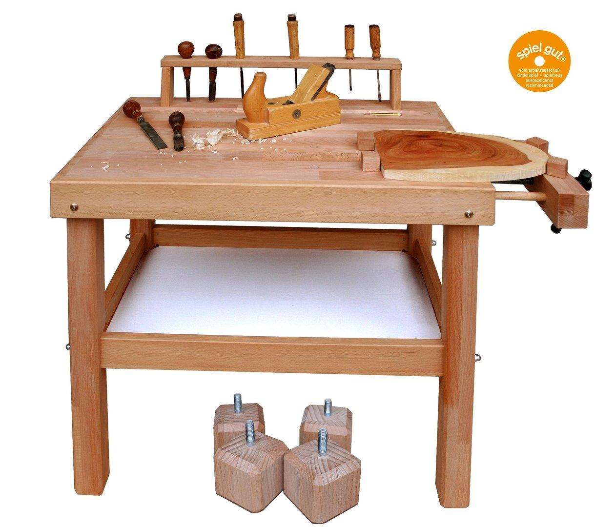 Set Werkbank Kinder Holz Hohenverstellbar Ab 5 Jahren Villa Bambini